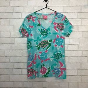 Simply Southern Turtle Friends V Neck Tee Shirt L